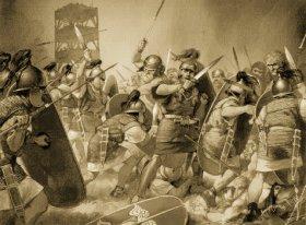 Batalla entre romanos, cantabras y Astures
